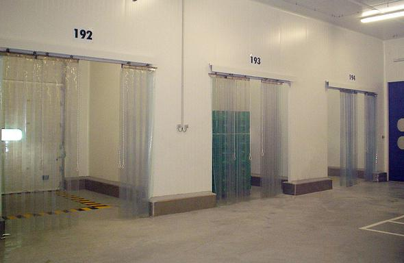 PVC strips and curtains for sliding doors in food factories