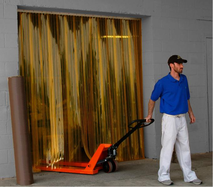 Industrial curtains or strip doors with flexible PVC